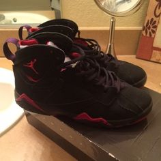 Jordan Retro Raptor 7 still available still available check previous post, buyer cancelled on me ! 7y = 9 womens has chipped paint , pictures in previous post in closet. 120 on mer. no holds no trades. Jordan Shoes Sneakers