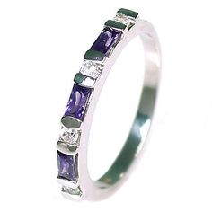 Loretta: 0.72ct Amethyst & Ice on Fire CZ Stackable Band Ring - Trustmark Jewelers