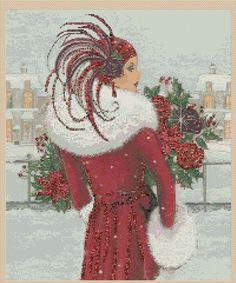 Cross Stitch chart art deco lady 10 uk P&p. in Crafts, Cross Stitch, Cross Stitch Charts Cross Stitch Art, Cross Stitch Designs, Cross Stitching, Cross Stitch Embroidery, Cross Stitch Patterns, Art Nouveau Poster, Art Deco Posters, Christmas Embroidery Patterns, Embroidery Designs