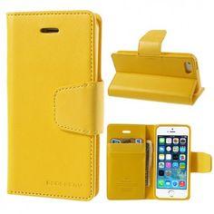 Apple iPhone 5 / 5S Keltainen Goospery Lompakkokotelo  http://puhelimenkuoret.fi/tuote/apple-iphone-5-5s-keltainen-goospery-lompakkokotelo/