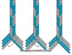 embroidery floss This braid uses 8 strands 4 each of two colors. This example was made with standard embroidery floss. Cut your strands longer than your intended finished braid l Horse Gear, Horse Tack, Hobby Horse, Paracord Braids, Paracord Knots, Horse Braiding, Horse Hair Jewelry, Rope Halter, Lead Rope