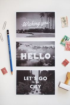 Black and white postcards with photography with text overlay