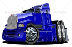 Buy Cartoon Semi Truck by Mechanik on GraphicRiver. Available and EPS vector formats separated by groups and layers for easy edit. More cartoon cars and transporta. Big Rig Trucks, Semi Trucks, Arte Pink Floyd, Train Illustration, Truck Detailing, Truck Paint, Car Vector, Classic Chevy Trucks, Car Drawings