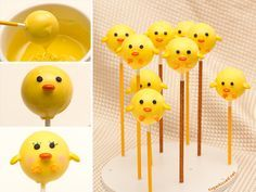 Step-by-step tutorial for making Chick Cake Pops by @Janine (sugarkissed.net)