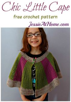 crochet patterns design Chic Little Cape free crochet pattern by Jessie At Home - Chic Little Cape, an adorable cape designed by my daughter, Vada. A free crochet pattern at an intermediate skill level, featuring Red Heart Chic Sheep yarn. Kids Cape Pattern, Crochet Cape Pattern, Knit Patterns, Free Pattern, All Free Crochet, Crochet Girls, Crochet For Kids, Crochet Baby, Crochet Scarves