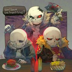 Can I have one french fries?,text, Sans, Genocide, ax, blood, hamburger, food; Undertale