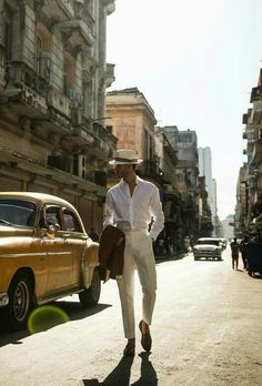 """The Havana Gangster"" Cuba Fashion, Mens Fashion, Cuba Outfit, Cuba People, Cuban Men, Havana Nights Party, Tropical Fashion, Elegant Man, Modern Gentleman"