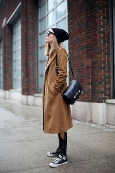 Women fashion style outfit @roressclothes clothing brown coat sunglasses shoulder bag sneakers pants autumn spring casual street