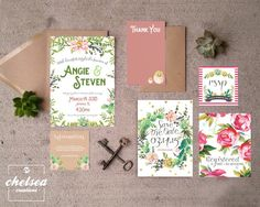 Watercolor Floral Wedding Suite by ChelsCreationsDesign on Etsy