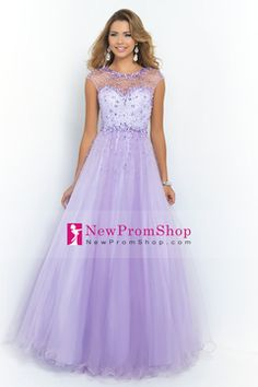 2015 Attractive Prom Dress Scoop A Line/Princess beaded bodice Tulle With open back