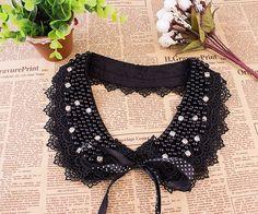 Black pearl  Rhinestone handmade fake collar necklace