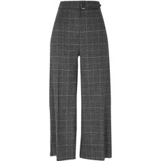 River Island | Grey glitter check belted culottes/trousers | £38.00 (Autumn-Winter 2017).    Woven fabric. Lurex check print (Prince of Wales check/plaid). Cropped wide leg. Front and back centre creases. High waisted. Gold tone D-ring belt detail. Concealed hook-and-eye, button and zip fly fastening. Our model wears a UK 8 and is 175cm/5'9'' tall. Fabric & care: 1% Elastane, 83% Polyester, 16% Viscose