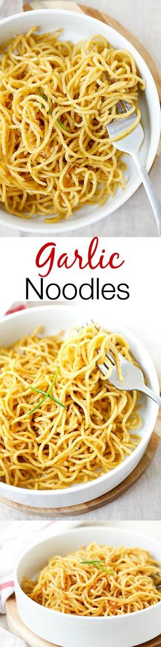 Garlic noodles – garlicky and buttery noodles with Parmesan cheese. SO easy and delicious you won't stop eating! Make it with zoodles! Pot Pasta, Pasta Dishes, Food Dishes, Buttery Noodles, Garlic Noodles Recipe, Asian Recipes, Healthy Recipes, Delicious Recipes, Gula