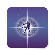 Libra Horoscope Lavender Square Sticker Stickers