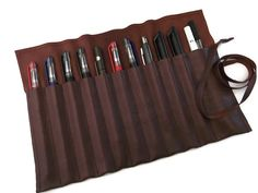 Leather Pencil Case Leather Pen Case Brown  Leather by feltapp, $36.50