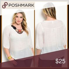 ➕Sheer White Top With Beaded Embellishment White similar-sheer blouse with beautiful bead embellishment. Gorgeous fall colors! 40% Cotton 60% Polyester Tops Blouses