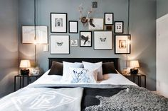 bedroom design in grey and brown in an apartment of the in Uppsala Small Master Bedroom, Home Bedroom, Bedroom Decor, Bedrooms, Wall Decor, Appartement Design, Inside Home, Living Room Designs, Home Furniture