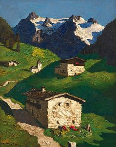 Frühling in Tirol - Alfons Walde Landscape Art, Landscape Paintings, Kunst Online, Ski Posters, Watercolor Pictures, Amazing Paintings, Country Scenes, Contemporary Paintings, Traditional Art