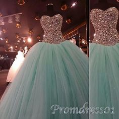 Ball gowns wedding dress, beaded green tulle poofy prom dress, prom dress 2016