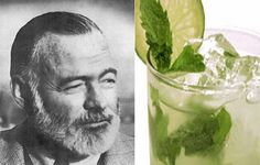 """Ernest Hemingway ~ ~ ~    Drink: The Mojito. Though Hemingway is associated with a number of drinks, and drinking in general, the mojito was a particular favorite of his, as it was invented at La Bodeguita del Medio in Havana, Cuba, where he drank them in large quantity. Make sure to keep your glass full and sling misogynistic prose at passerby.  Motto: """"Drinking is a way of ending the day."""""""