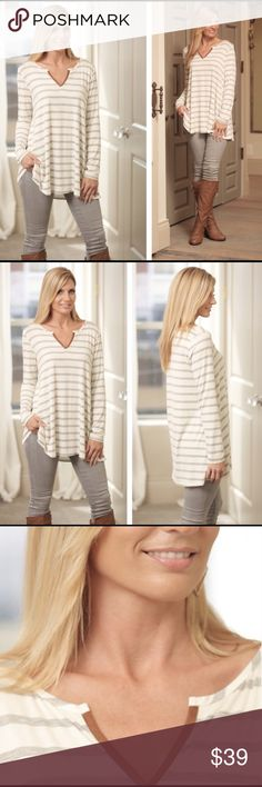 ONE LEFT! Best selling striped tunic Get this amazingly soft grey striped tunic for Fall!   Adorable tan 'suede' style detail at neck.    Amazing with jeans or leggings and boots!   More information available upon request.   Open to fair offers. Infinity Raine Tops Tunics