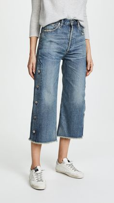 online shopping for Citizens Humanity Button Emma Jeans from top store. See new offer for Citizens Humanity Button Emma Jeans Denim On Denim Looks, Denim Pants, Hem Jeans, White Jeans Outfit, Denim Outfit, Cropped Wide Leg Jeans, Denim Trends, Couture, Distressed Denim