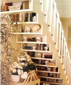 This staircase idea is a great way to display antiques and vintage collectibles!
