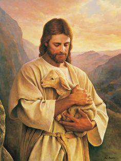 Jesús y el El Cordero Extraviado (The Lost Lamb), pintura de Del Parson, que representa el amor de Jesús por los que han perdido su camino. #ImagenesJesus