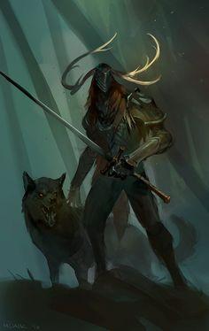 Hunter, antler horned helmet, armor, Greatsword, wolf, woodsman, forest guardian.