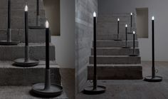 SETTENANI COLLECTION design matteo ugolini Base in concrete+ structure in metal painted in charcoal grey. table lamp (CUCCIOLO) Ø27 h. 54cm. max 1x40w E14 energy saving bulb floorlamp (DOTTO) Ø40 h. 130cm. max 1x150w E27 energy saving bulb