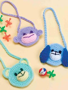 Itty-Bitty Purses Crochet Pattern Download from e-PatternsCentral.com -- Delight a child with any of these three cute monkey, puppy and bear animal-face purses.