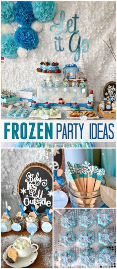 Here's a gorgeous Frozen party! Complete with a hot cocoa bar! See more party planning ideas at CatchMyParty.com!