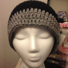 Black And Grey Handmade Beanie