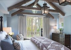 Blue Bedroom Ideas. Soothing Blue Bedroom Design. Paint Color is Dunn-Edwards' Alaskan Skies. #Bedroom #BluePaintColor
