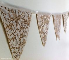This gorgeous string of mini triangle bunting, featuring beautiful white or ivory lace, will create the perfect vintage/rustic feel for your