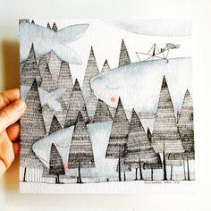 """""""Simplement l'amour de la nature"""" Encre de Chine et aquarelle sur papier, 20x20cm"""