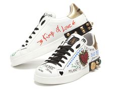 Dolce & Gabbana Mix It Up with Spring Abayas and Luxury Sneakers Dolce & Gabbana, Dolce Gabbana Sneakers, White Balenciaga Sneakers, Chanel Sneakers, Sneakers Fashion, Custom Sneakers, Custom Shoes, Custom Clothes, Classic Sneakers