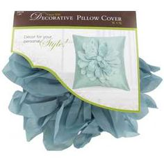 """Aqua 16"""" x 16"""" Faux Silk with Big Flower Pillow Cover"""