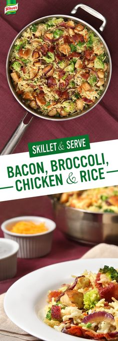 Knorr's Bacon, Broccoli, Chicken & Rice is delicious, easy to prepare, and budget & family friendly. Make this your family's new favorite rice recipe: 1. Melt spread in skillet, add chicken & onion, and cook. Set aside. 2. Stir in Knorr® Rice Sides™ - Creamy Chicken & broccoli. 3. Add chicken & onion. Sprinkle with bacon, serve and enjoy!