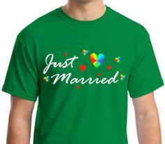 GAY MARRIAGE GIFT: Just Married  Pride  Irish Green by ALLGayTees