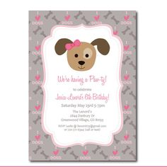 Puppy Party Invitation with Editable Text Printable by Punkyprep