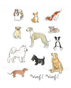Children's Dog Wall Art Print--The Dogs--Dogs by MyGrandestAdventure, $16.00-$25.00