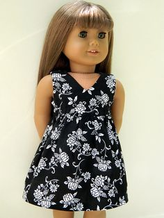 American Girl Doll Clothes  Black and White Floral by 18Boutique, $15.00
