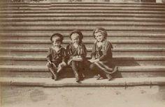 Alexei, Anastasia and Maria on the steps of Ropsha Palace