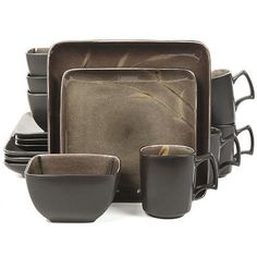 Gibson Elite Onyx Forest 16-pc. Square Dinnerware Set