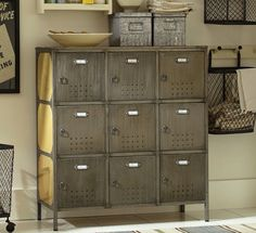 pottery barn lockers - Storage solutions on #redsoledmomma.com
