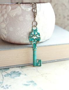 Skeleton Key Necklace Key Pendant Long Chain by apocketofposies