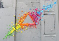 Origami Street Art. Much easier for me to accomplish than yarn bombing. Hmm...