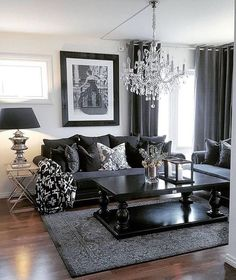 Black Modern Living Room Furniture. ᒪiving Room Ideas | Tea Table Chic  Lighting Chandelier More