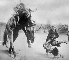 """Bonnie McCarroll (1897-1929) was bronc riding champion at Madison Square Garden in 1922, at Yankee Stadium in 1923 and at Wembley Stadium in London in 1924. McCarroll was thrown and fatally trampled by a bronc at the Pendleton Round-up of 1929. Ironically, this was to be her last rodeo since she and her husband, Frank McCarroll, had planned to retire. As a consequence of her death. McCarroll thrown from """"Silver"""" Pendleton, OR  taken by W.S. Bowman, Pendleton, Oregon, 1915"""